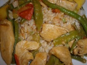 Rotes Curry mit Hähnchen - scharf