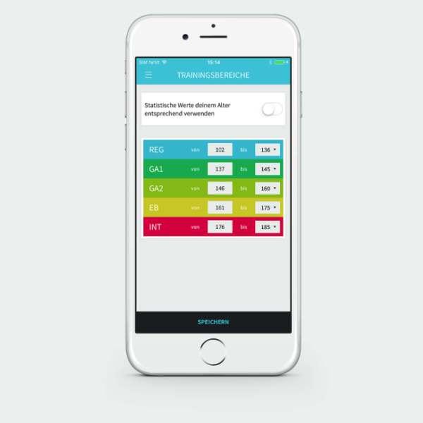 Vitalmonitor App Anzeige Trainingsbereich