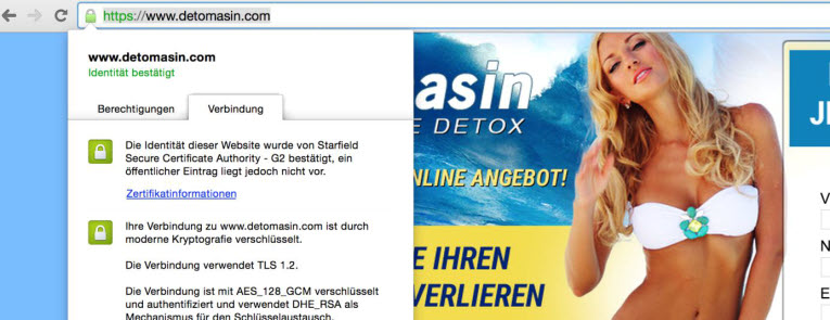 detomasin bietet eine sichere ssl-verbindung zum bestellen