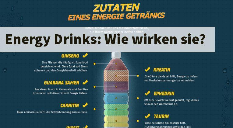 Energy Drinks enthalten in der Regel nicht unerhebliche Mengen an Zucker und Koffein und sorgen somit für gesteigerte Leistungen