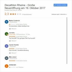 Decathlon Rheine – Neueröffnung und schon schlechte Bewertungen?